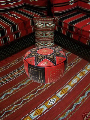 Moroccan Leather Seat Cushion Merzougha - Black/Red, 45cm – image 4