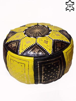 Moroccan Leather Seat Cushion Merzougha - Black/Yellow, 45cm