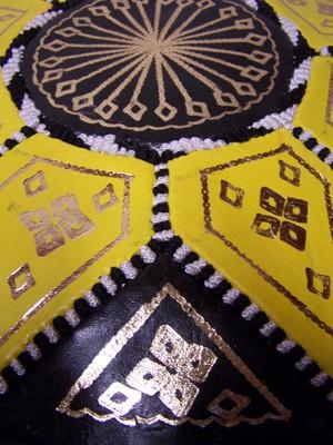 Moroccan Leather Seat Cushion Merzougha - Black/Yellow, 45cm – image 2