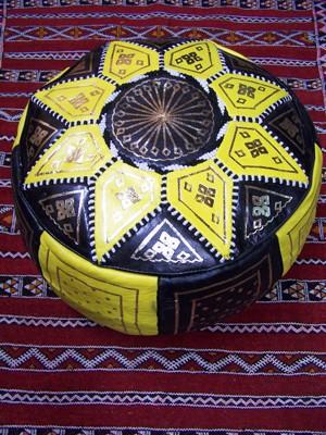 Moroccan Leather Seat Cushion Merzougha - Black/Yellow, 45cm – image 3