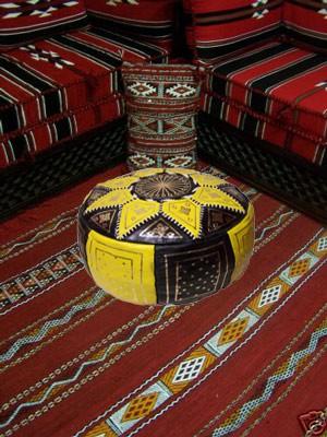 Moroccan Leather Seat Cushion Merzougha - Black/Yellow, 45cm – image 4