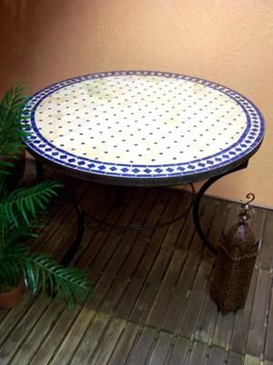 Mosaic Table marrakesch Nature/ Blue, 100cm