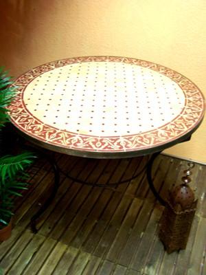 Mosaic Table Meknes Nature/ Bordeaux, 100cm – image 1