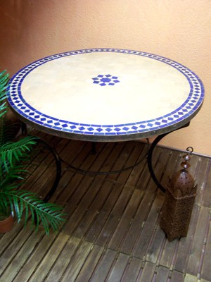 Mosaic Table Bilbao Nature/ Blue, 100cm – image 1