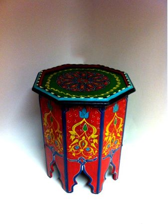 Moroccan wooden Table Kalif rot – image 1