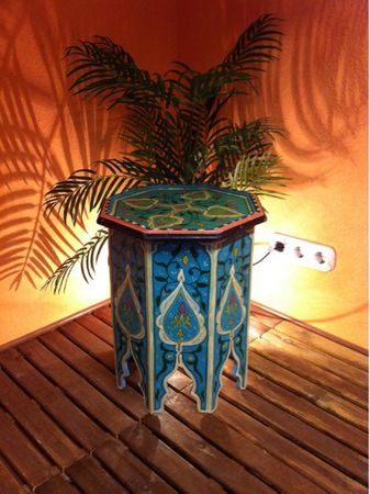 Moroccan wooden Table Kalif blue – image 2