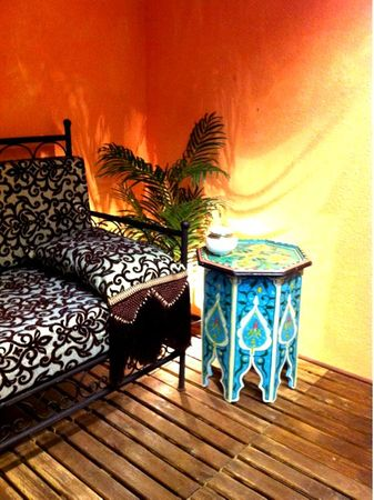 Moroccan wooden Table Kalif blue – image 5