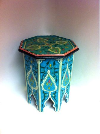 Moroccan wooden Table Kalif blue – image 1