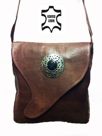 Moroccan Leather Handbag Nada - Brown – image 1