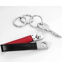 TROIKA Schlüsselhalter TWISTER Lederschlaufe mit Twist-Verschluß schwarz/rot