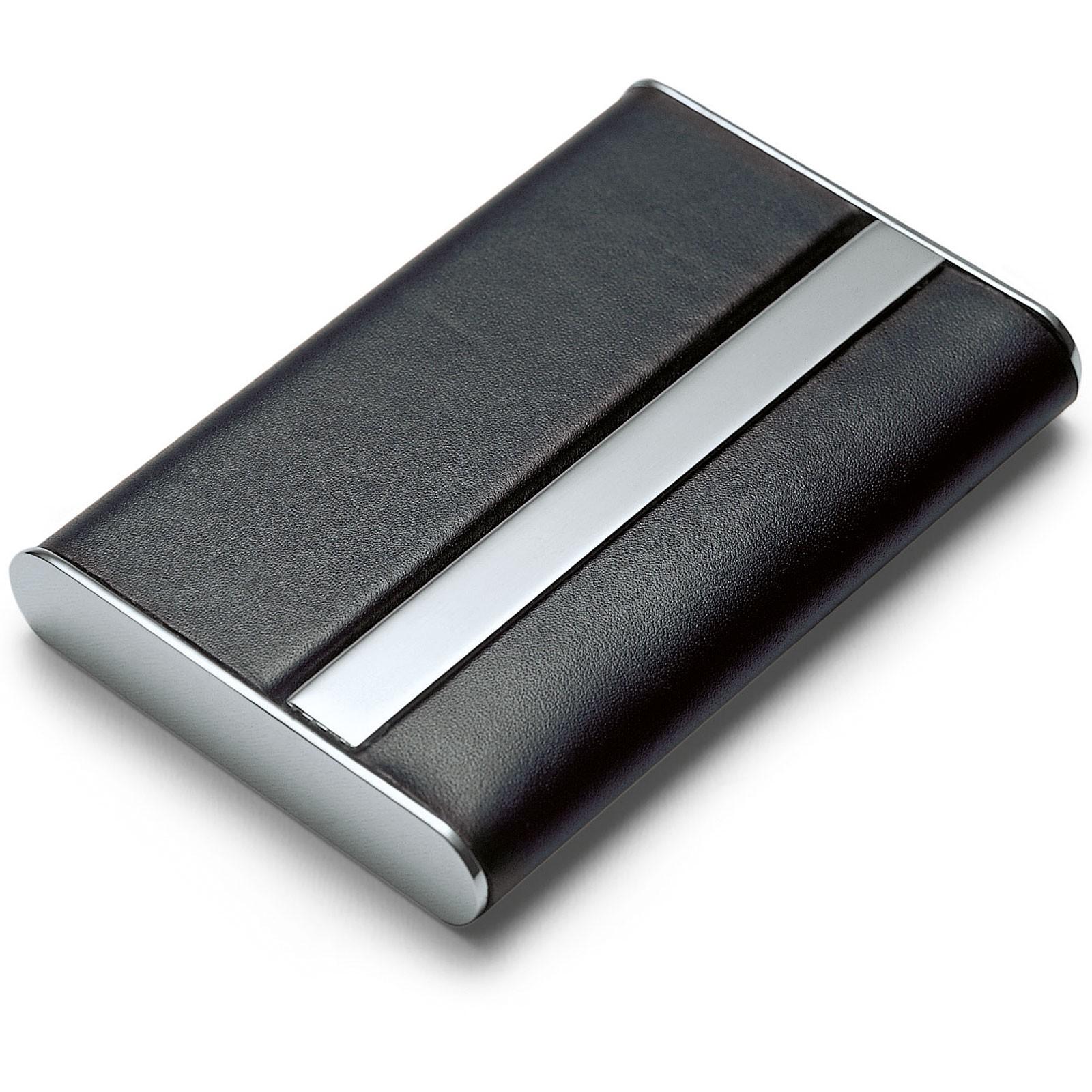 Visitenkartenetui quer Leder Nickel poliert magnetisch Philippi GIORGIO