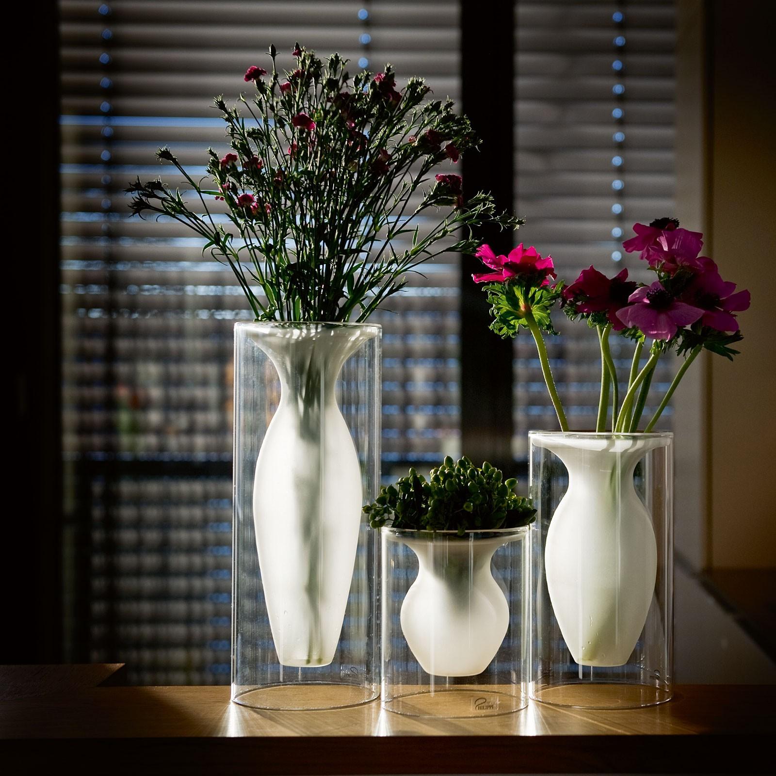 Vase in verschiedenen Größen Glas klar + gefrostet Philippi ESMERALDA