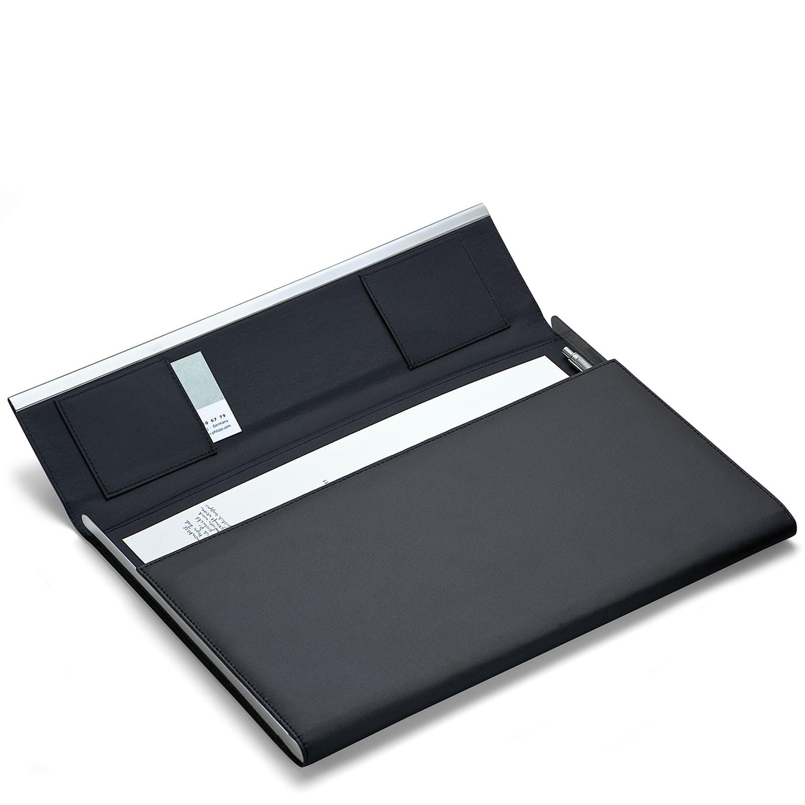 Dokumentenmappe A4 Leder Edelstahl poliert mit Stift magnetisch Philippi GIORGIO