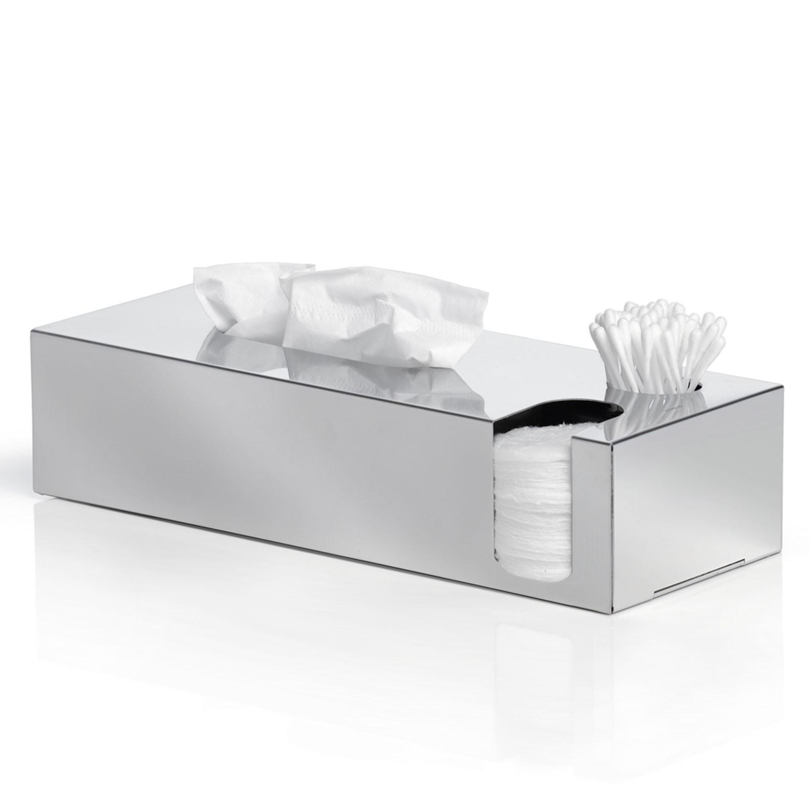 Kombibox für Kosmetiktücher, Wattestäbchen + Wattepads Edelstahl poliert blomus NEXIO
