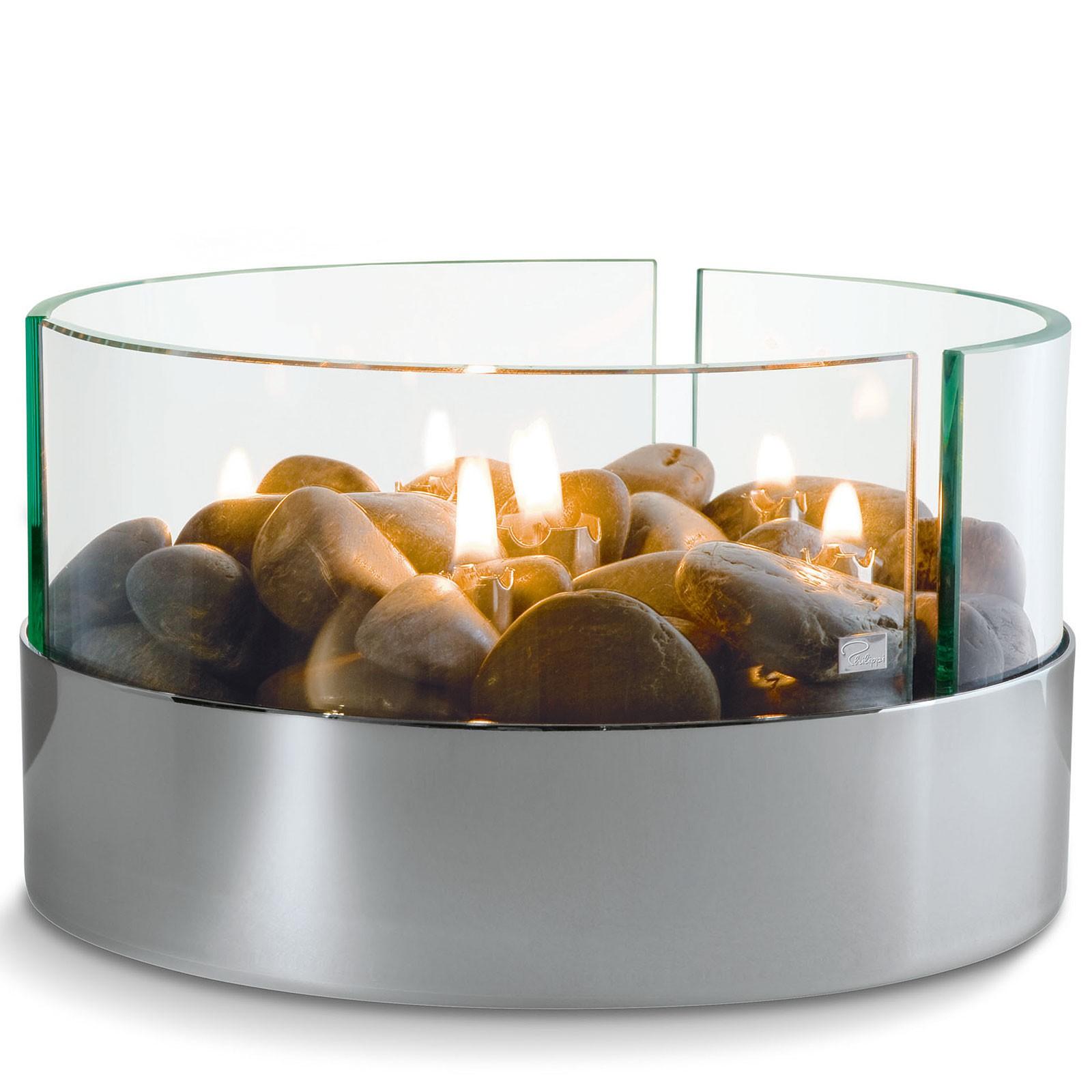 Tischkamin rund Glas + Steine Ø 20 cm Philippi BURN