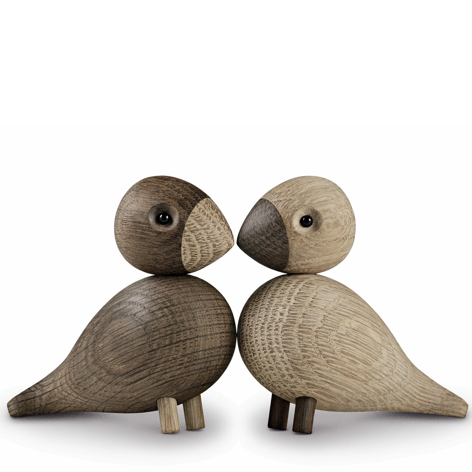 Holzfigur Vogelpaar Unzertrennliche Lovebirds 2-teilig Kay Bojesen
