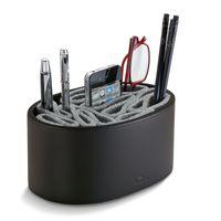 Utensilienbox Utility Box Leder schwarz Filz grau Philippi GIORGIO