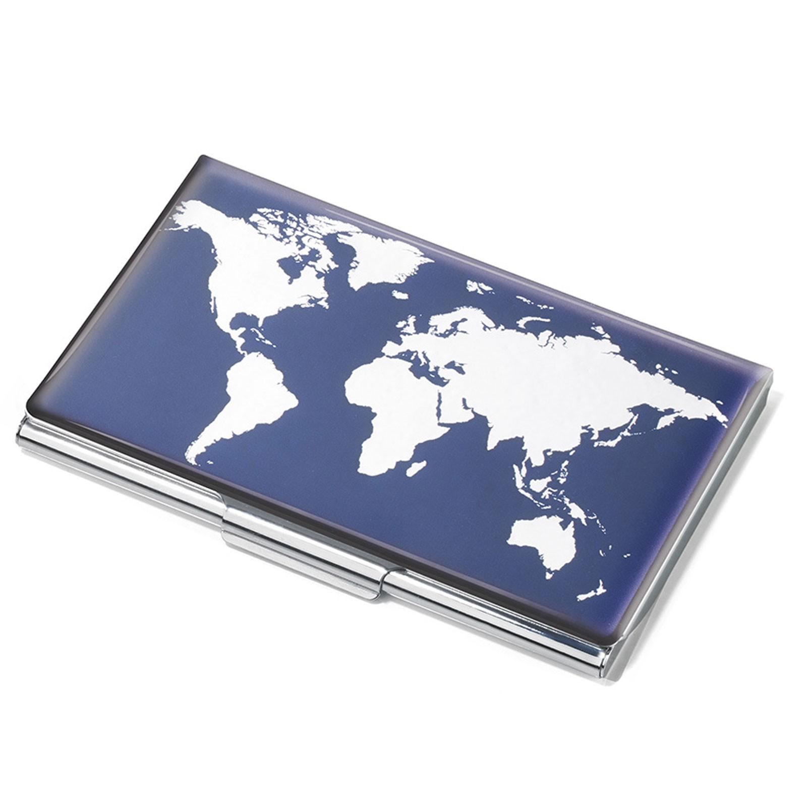 Troika Visitenkartenetui Flach Weltkarte Mit Dekor