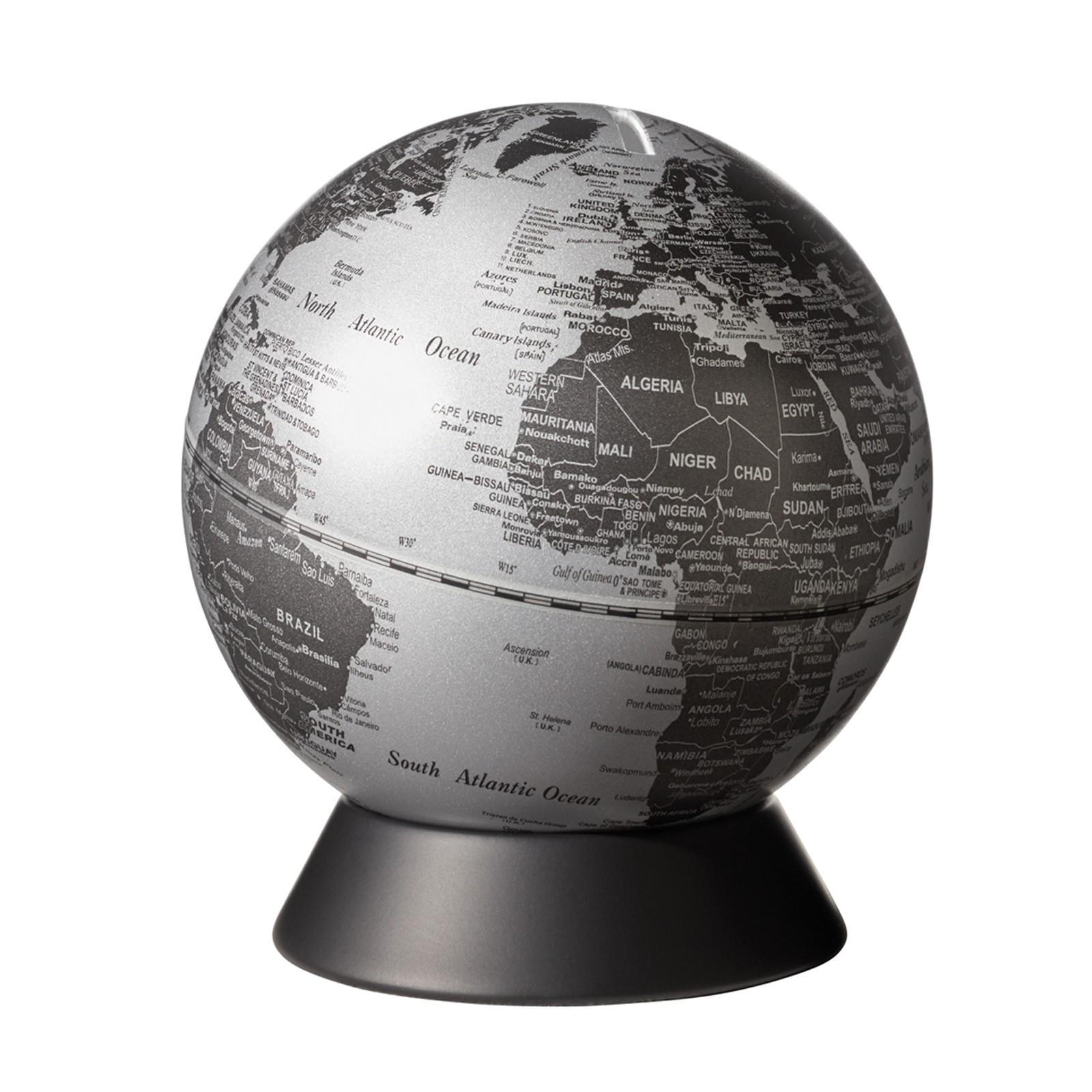 Emform Globus Spardose O 14 Cm Orion Matt Silver