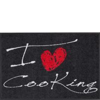 Salonloewe Fußmatte Wohnmatte 50 x 75 cm I LOVE COOKING HEART