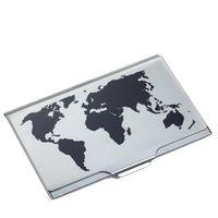 TROIKA Leichtes Visitenkartenetui GLOBAL CONTACTS mit Weltkartenprägung schwarz/titanfarben