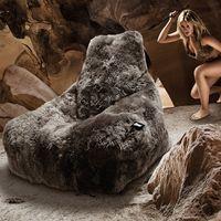 b-bag Extreme Lounging Fellsitzsack mighty-b Sheepskin Fur, Farbe Black
