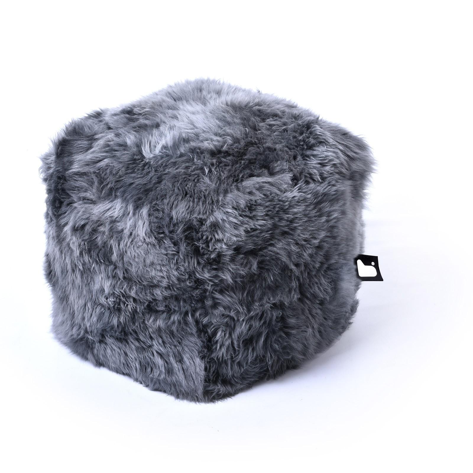 b-bag Extreme Lounging Fellsitzwürfel b-box Sheepskin Fur, Farbe Grey