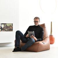 b-bag Extreme Lounging Sitzsack Lederoptik mighty-b, Farbe Charcoal