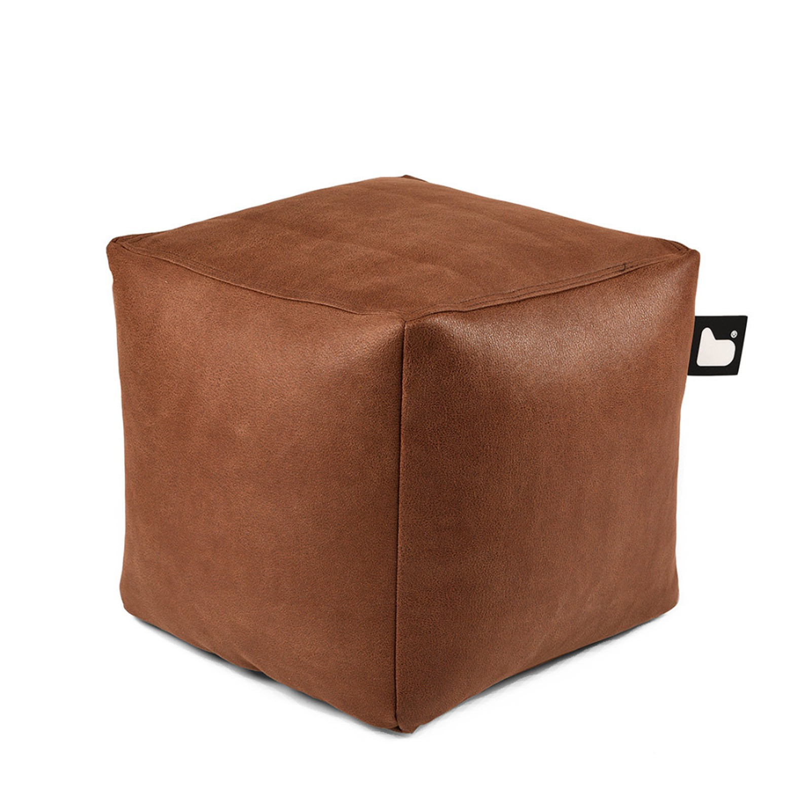 b-bag Extreme Lounging Sitzwürfel Box Lederoptik mighty-b, Farbe Chestnut