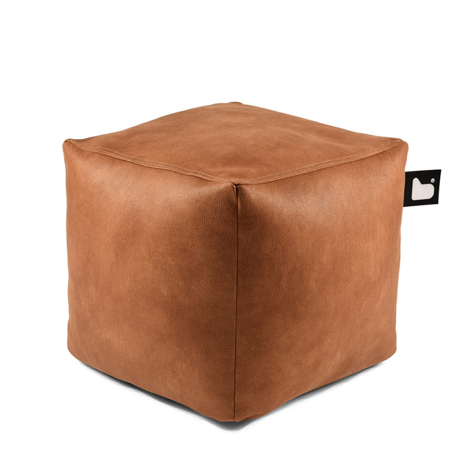 b-bag Extreme Lounging Sitzwürfel Box Lederoptik mighty-b, Farbe Tan