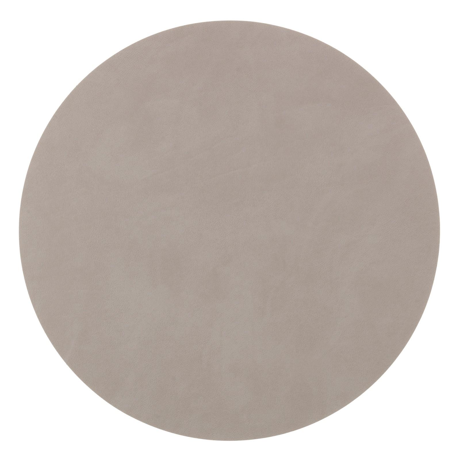 LindDNA Tischset Leder CIRCLE XL Durchmesser Ø 40 cm Nupo light grey