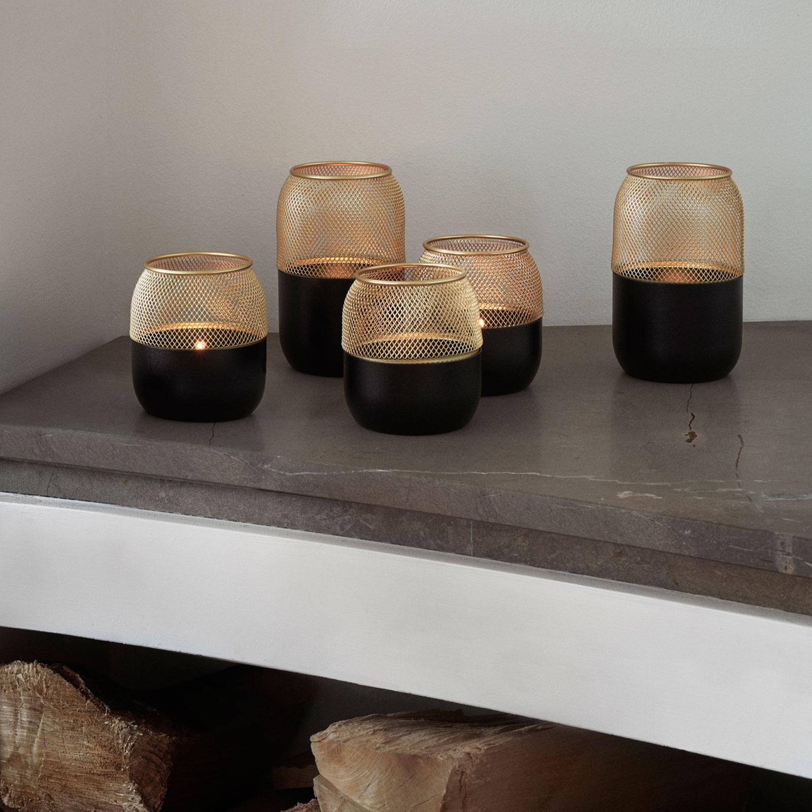 stelton Collar Teelichthalter black matt schwarz + Messing verschiedene Größen