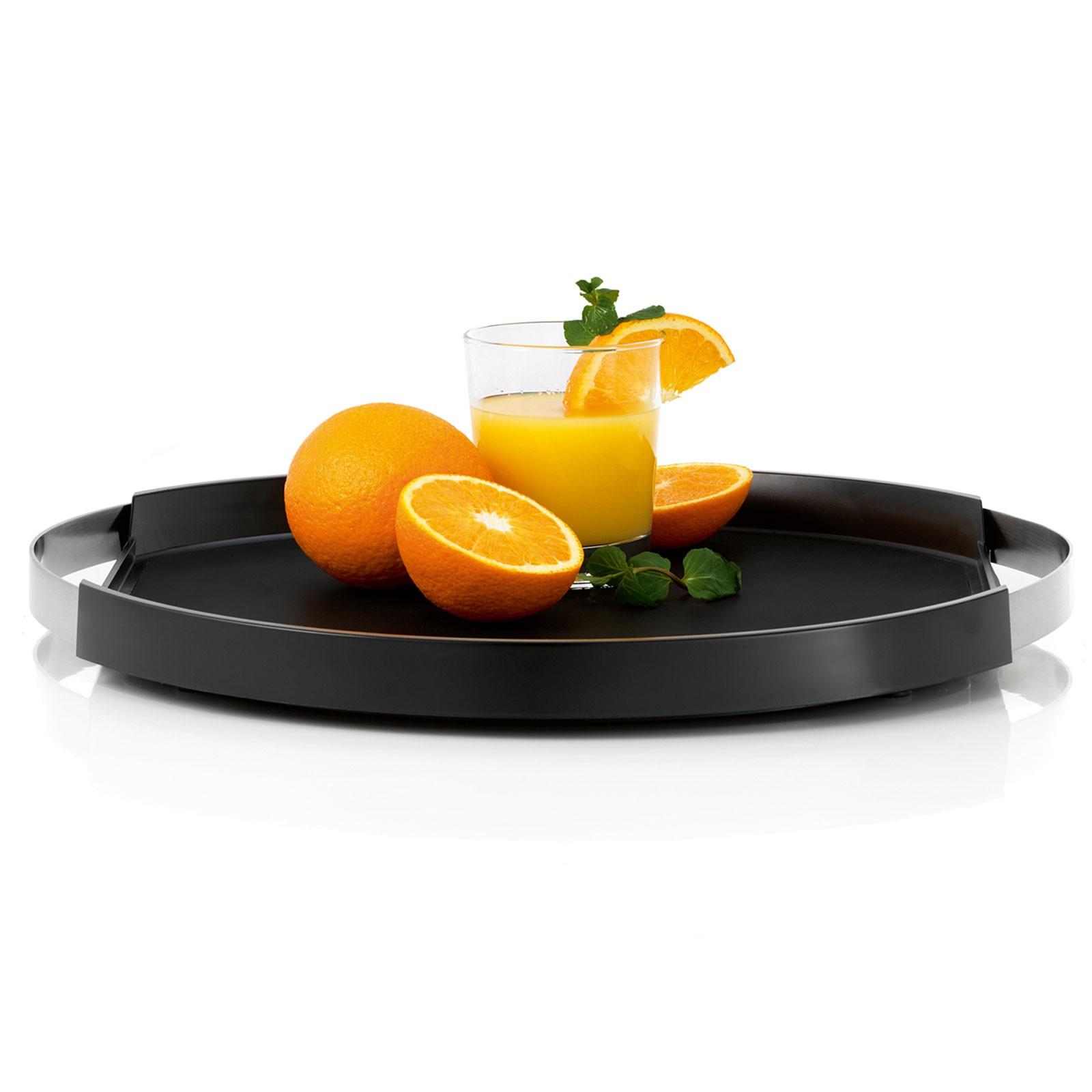 Tablett Serviertablett rund Edelstahl matt Kunststoff Silikon blomus PEGOS