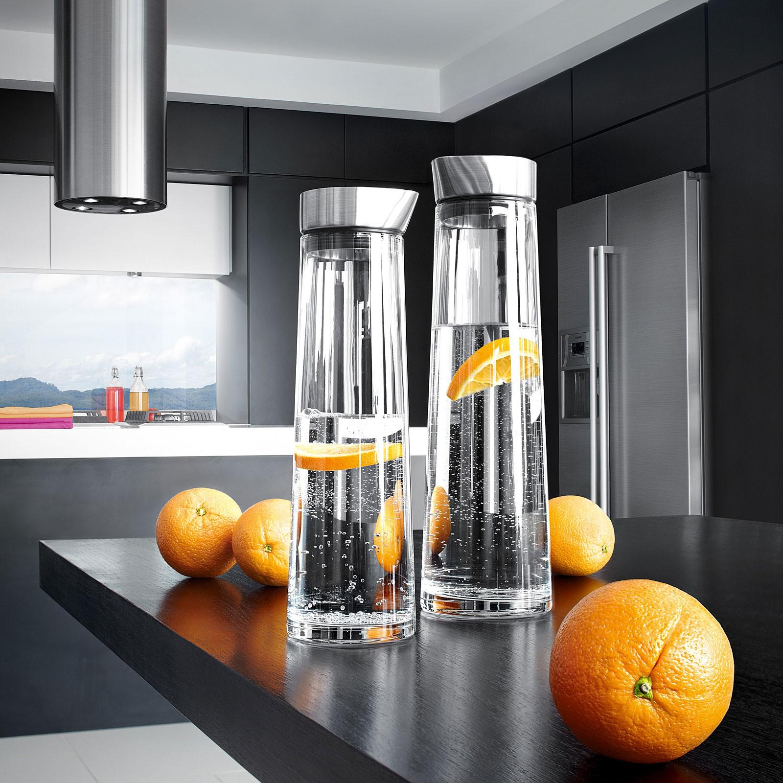 Wasserkaraffe Edelstahl matt Glas 1500 ml blomus ACQUA