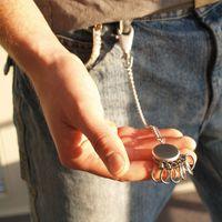 TROIKA Schlüsselanhänger PATENT CHAIN mit Karabiner + Kette silber