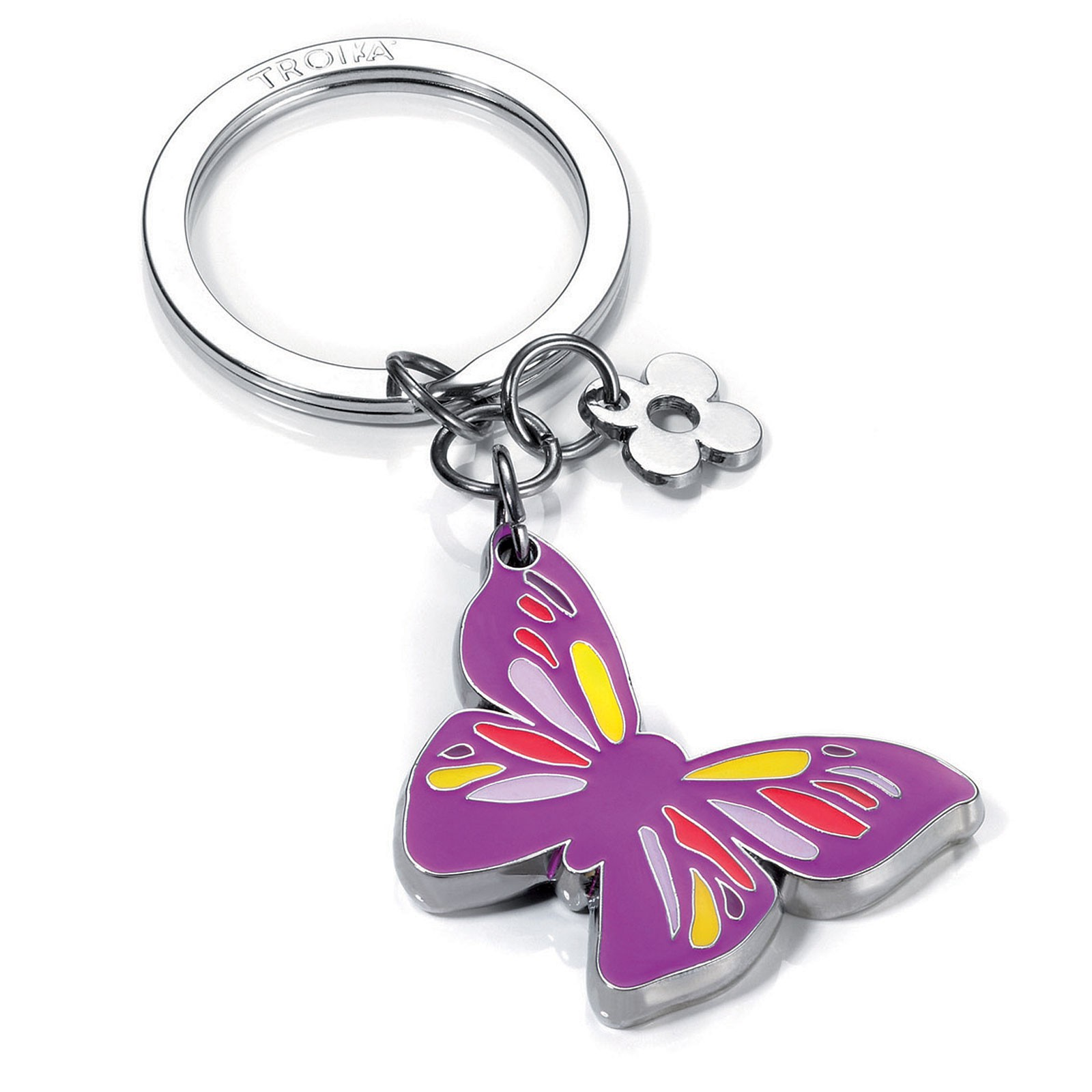 TROIKA Schlüsselanhänger LITTLE BUTTERFLY Schmetterling mit kleinem Blumen-Anhänger