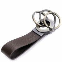 TROIKA Keyring KEY CLICK Lederschlaufe mit Klickverschluss braun/antikgold