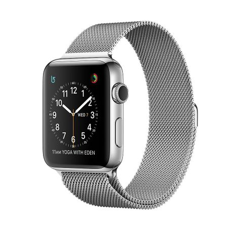 Apple Watch Series 2 Edelstahl Silver-Silver, Milanese Armband mit Schlaufe, MNP62ZD/A, 38mm
