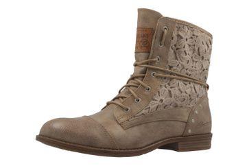 MUSTANG - Damen Schnür-Booty - Taupe Schuhe in Übergrößen