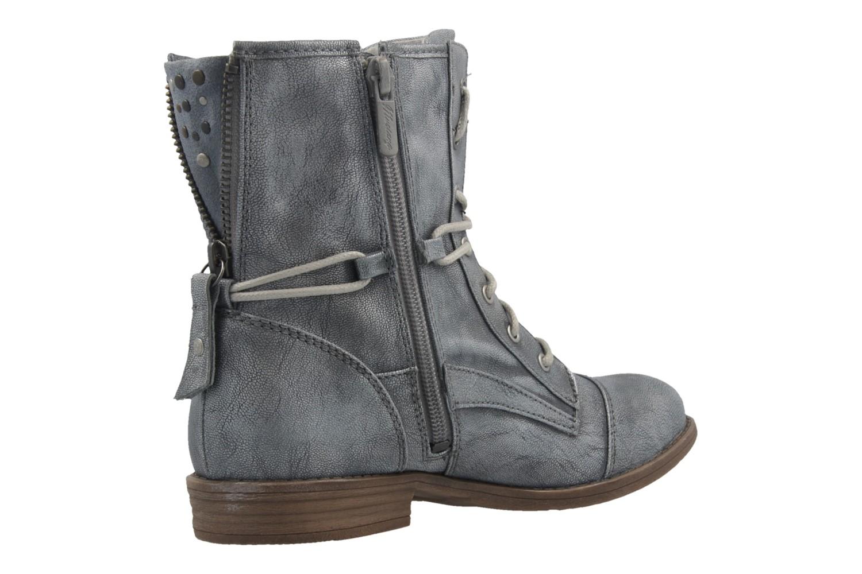MUSTANG - Damen Schnür-Booty - Blau Metallic Schuhe in Übergrößen – Bild 3