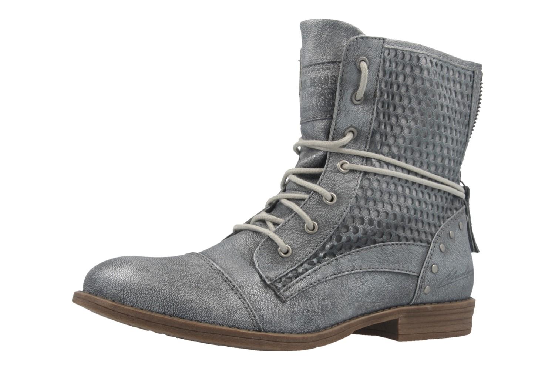 MUSTANG - Damen Schnür-Booty - Blau Metallic Schuhe in Übergrößen – Bild 1