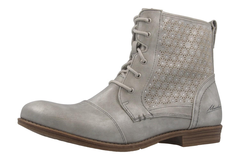 MUSTANG - Damen Schnür-Booty - Silber Metallic Schuhe in Übergrößen – Bild 1