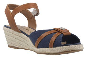 MUSTANG - Damen Keil-Sandaletten - Blau Schuhe in Übergrößen – Bild 5