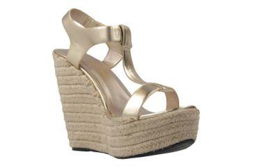 ANDRES MACHADO - Damen Keil-Sandaletten - Gold Schuhe in Übergrößen – Bild 5
