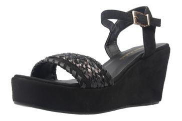ANDRES MACHADO - Damen Keil-Sandaletten - Schwarz Schuhe in Übergrößen – Bild 1