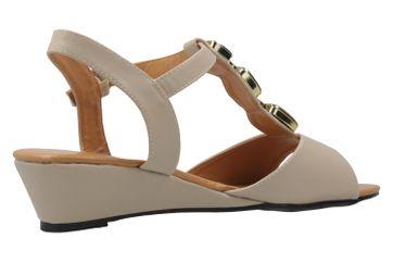 ANDRES MACHADO - Damen Keil-Sandaletten - Beige Schuhe in Übergrößen – Bild 3