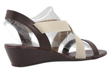 ANDRES MACHADO - Damen Keil-Sandaletten - Braun/Beige Schuhe in Übergrößen – Bild 3