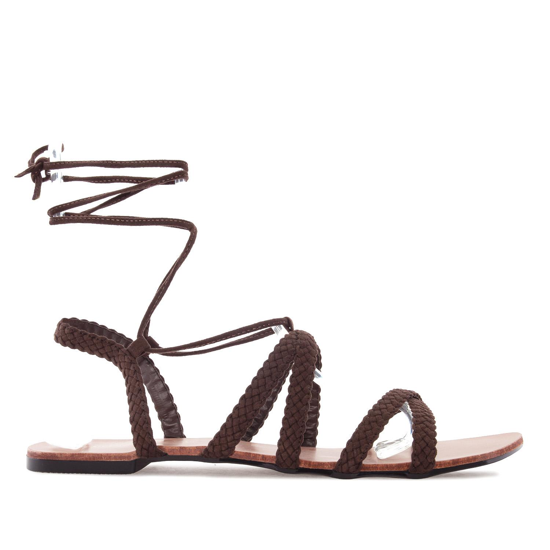 Andres Machado Sandalen in Übergrößen Braun AM5164 Trenzado Marron große Damenschuhe – Bild 1