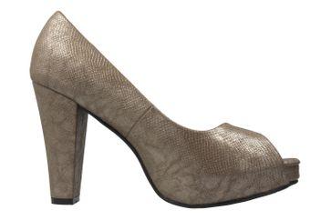 ANDRES MACHADO - Damen Peeptoes Pumps - Gold Schuhe in Übergrößen – Bild 4