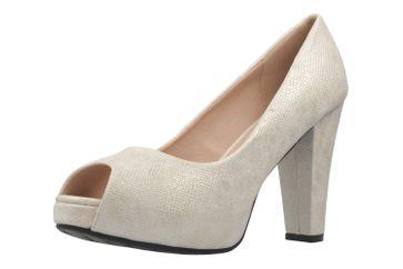 ANDRES MACHADO - Damen Peeptoes Pumps - Silber/Weiß Schuhe in Übergrößen – Bild 1